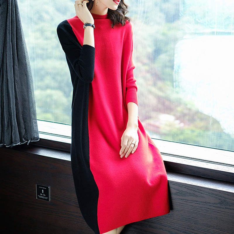 Sexy Lady Loose Dresses Vestidos Women Autumn Winter Patchwork Sweater Knitted Dresses Slim Elastic Turtleneck Dress