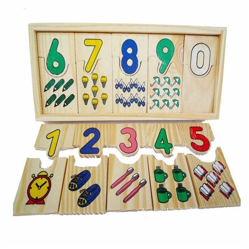 1 компл. рано дошкольных образовательных учреждениях для обучения математике узор номера, соответствующие головоломки игрушка деревянная ...