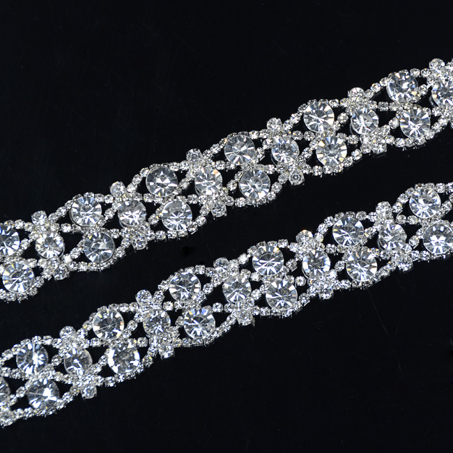 10Yards Silver Golden Tone Rhinestone Crystal Sewing Trims Applique Costume Chain 19mm