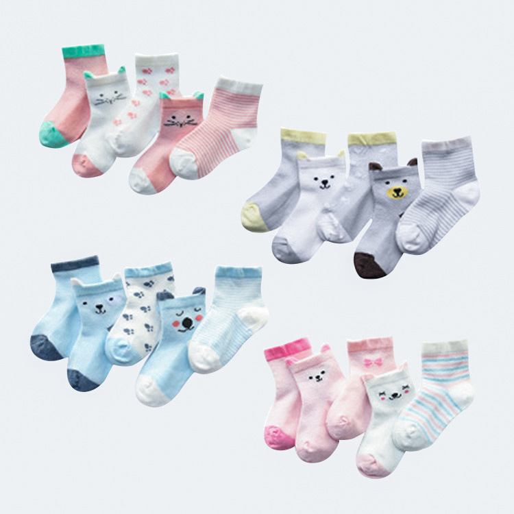 5Pairs/Lot Cartoon Baby Socks Summer Children Sock Breathable Cotton Kid Socks For Boys Girls Thin Socks