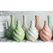 Creative Simple Home Office Decor Multicolor Pure Handmade Ceramic Spiral Vase Flowers  home decoration accessories S