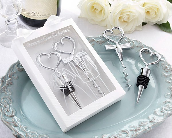 Wine Bottle Opener 400pcs 200sets box Heart Shaped Great Combination Corkscrew and Stopper Sets Wedding Faovrs