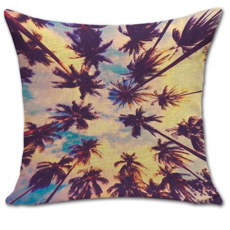 a223a94eb O Projeto quente Plantas Fronha 45 45 Centímetros Criativo Bonito Cenário  Hawaii Coco Árvore Padrão de Capa de Travesseiro Cochilo