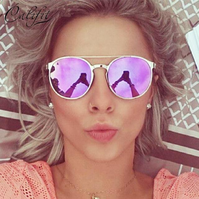 0e7a5cab0311c9 CALIFIT Dames Rose Miroir Rond lunettes de Soleil Femmes Marque De Luxe  Designer Lunette 2018 Nouveau