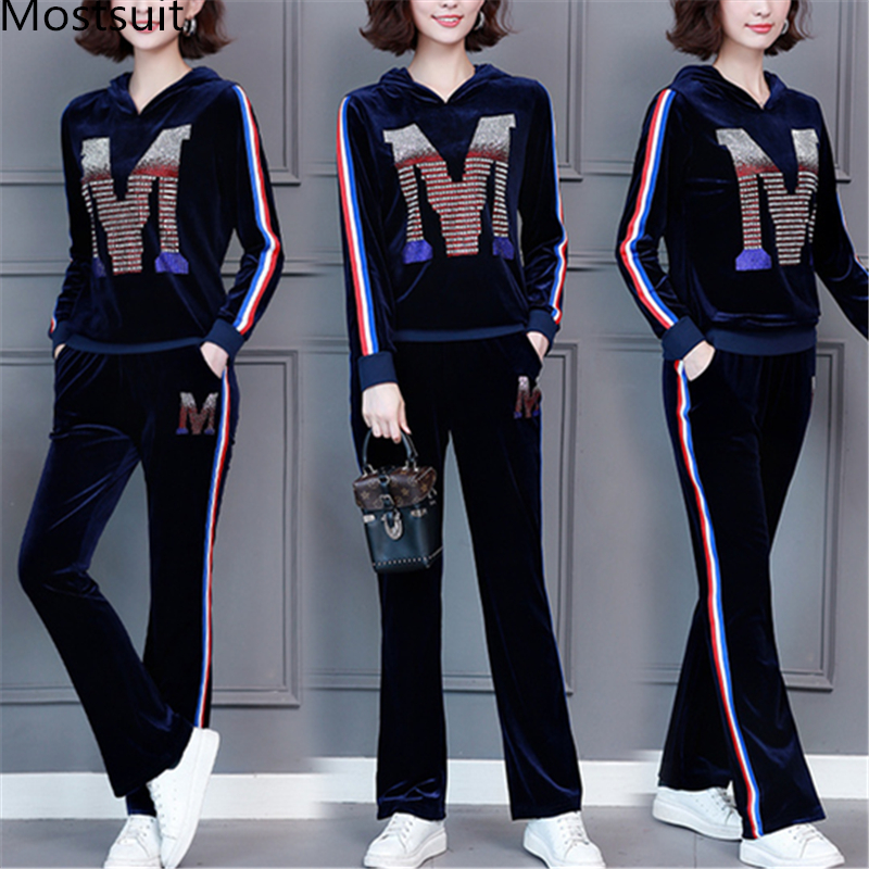 M-5xl 2019 Autumn Velvet Rhinestones Two Piece Sport Sets Tracksuits Women Plus Size Hooded Tops And Pants Casual Outfits Suits 33