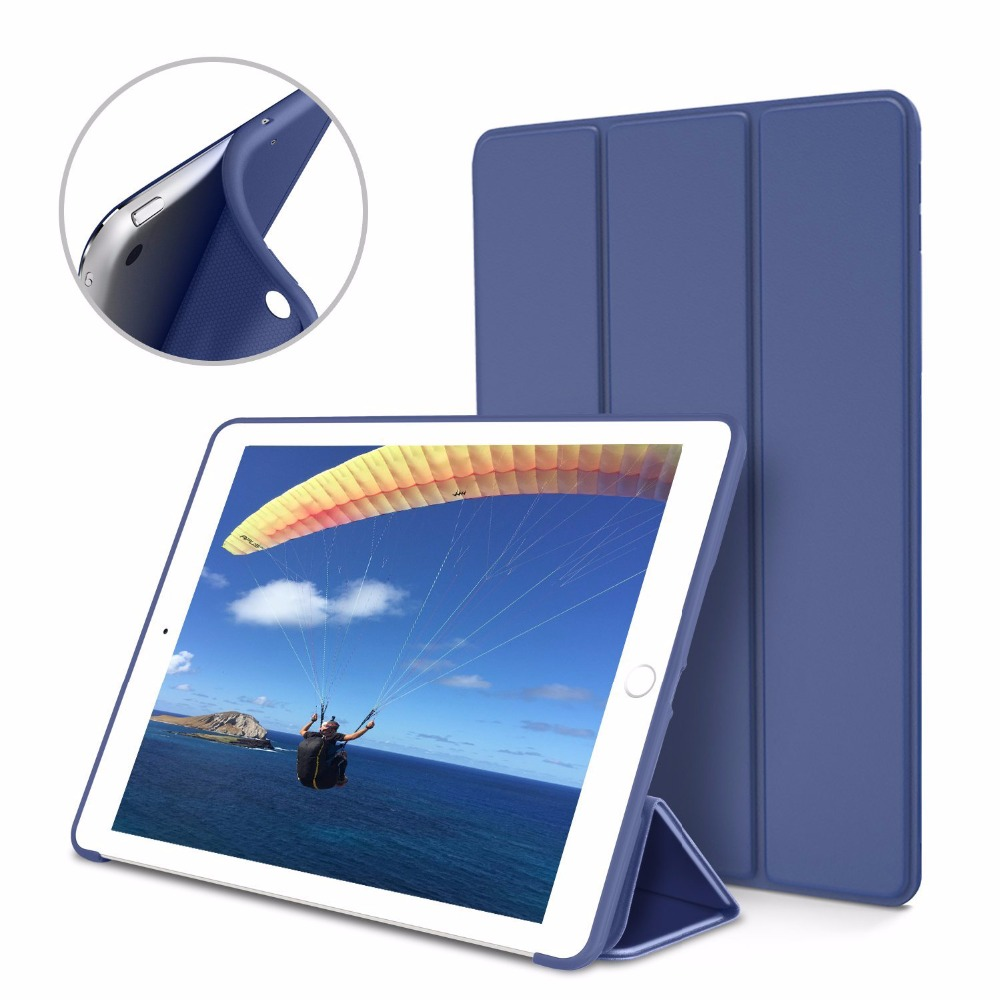 Case For Apple Ipad 9.7 Inch 2017 Release 6Th PU Leather Cover + TPU Soft Silicone Shell Smart Sleep Wake Up Case