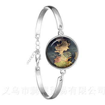 Globe Map Of The World New Retro Bracelet World Travel Curved Glass Adventurer Silver Plated Bangle Gift For Friends image