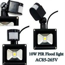 Бесплатная доставка DHL пир 10 Вт из светодиодов прожектор 900LM AC85-265V датчик движения день ночь датчик наружной теплый белый / белый