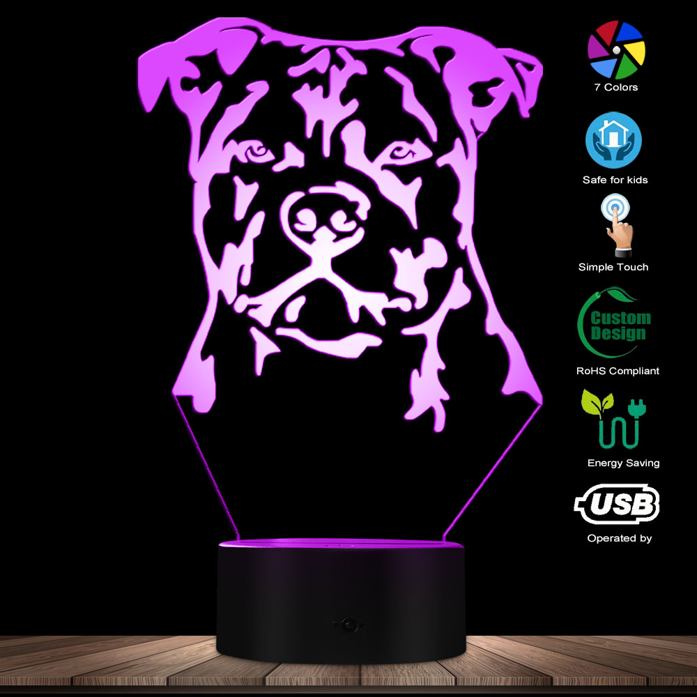 Modern Staffordshire Bull Terrier LED Night Light Animal Pet Dog Puppy 3D Optical Illusion Lamp Home Decor Table Lamp Desk Light