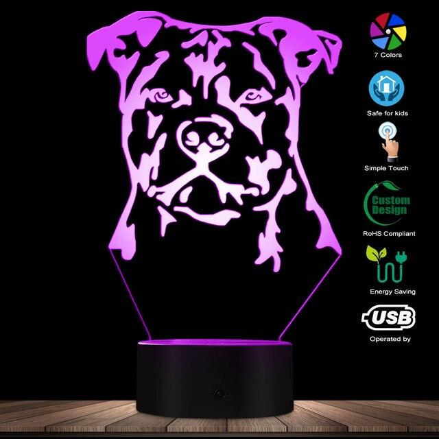 Moderne Staffordshire Bull Terrier LED Nachtlicht Tier Haustier Hund Welpen 3D Optische illusion Lampe Wohnkultur Tisch Lampe Schreibtisch licht