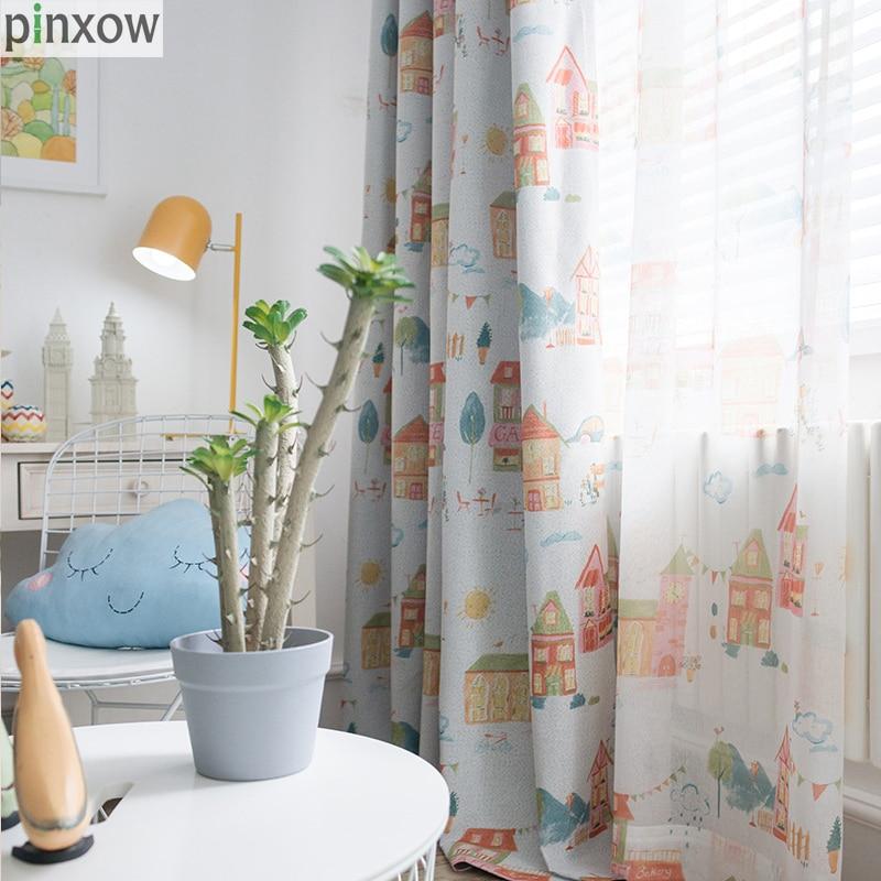 pinxow bedroom window curtains for children light blue
