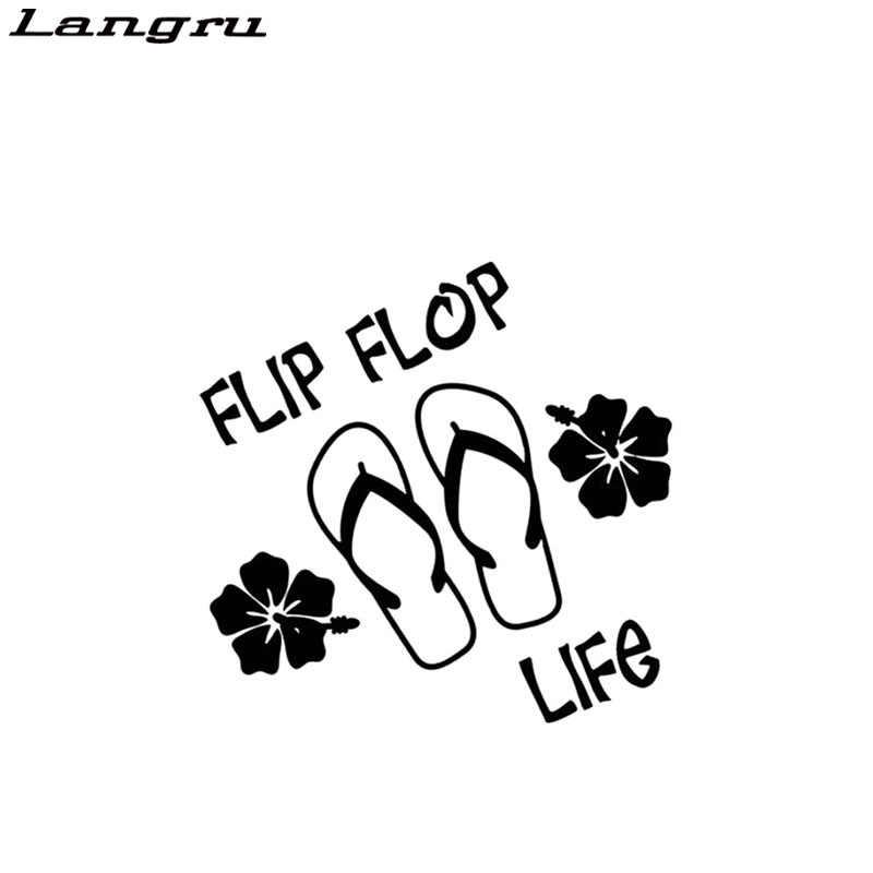 Langru Flip Flop Yaşam Plaj Hawaii Vinil Çıkartması Araba Aksesuarları Dekoratif Jdm