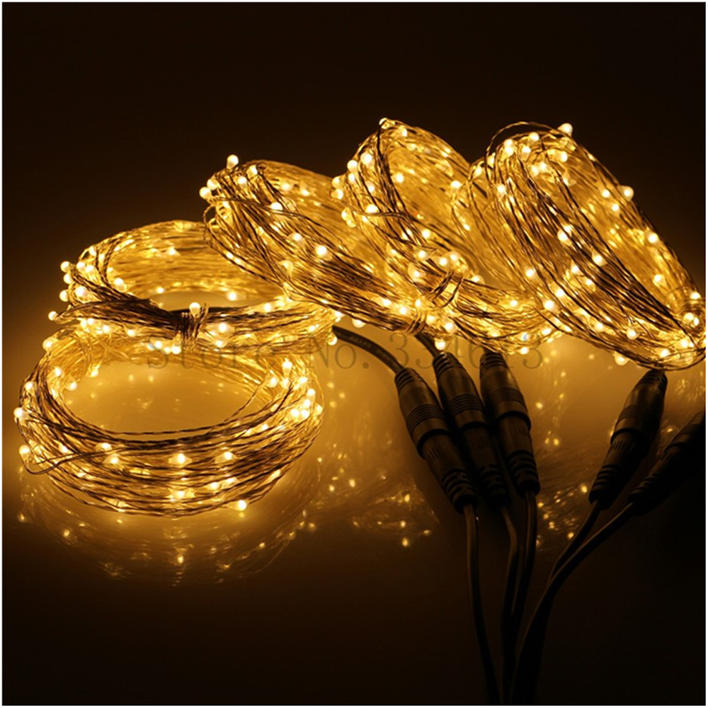 5 * 10M / 33FF 100 LED do podłączenia Outdoor Christmas Starry Lights Srebrny drut Indoor Holiday Lights String 500 LED + zasilacz