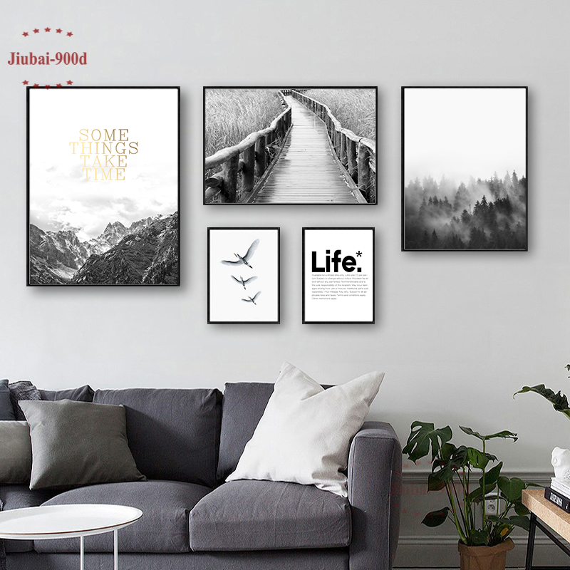 900D Nordic Forest Posters And Prints Wall Pictures For Living Room Mountain Canvas Painting  Wall Art Decoration NOR050