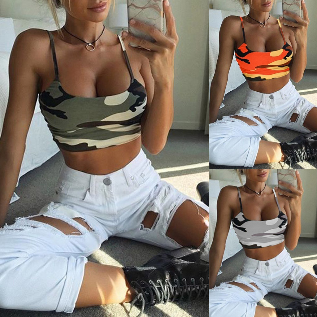 2019 Women Vest Camouflage Sleeveless   Tank     Top   Bustier Bra Vest Crop   Top   Shirt