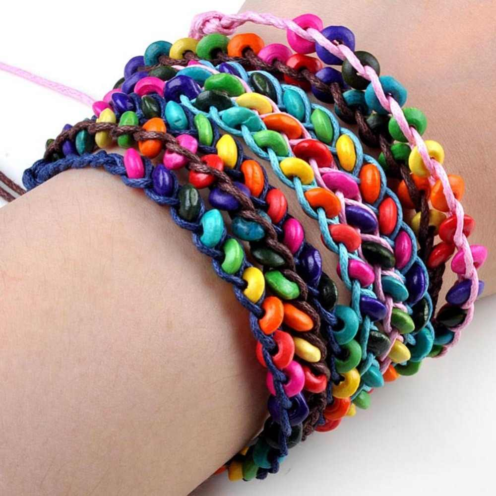 20pcs/Lot Colorful Wood Wristbands Child Bead Braided Bracelet Wholesale Birthday Party Gift Jewelry