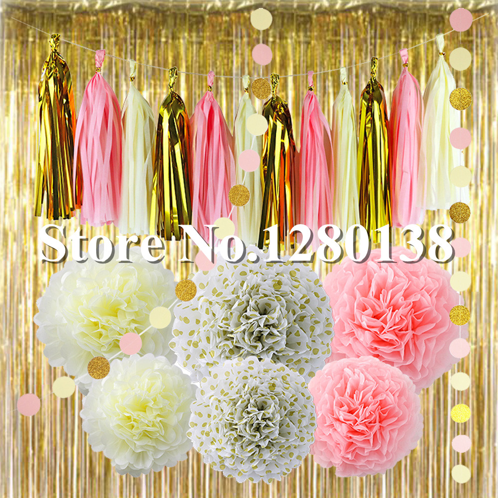 Party Decorations Gold Foil Curtain Balloon Tissue Paper Tassel ...
