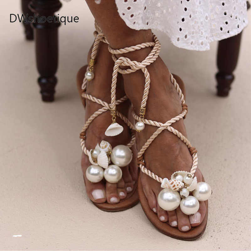Summer pearl lace up women sandals beach flip flop women flats