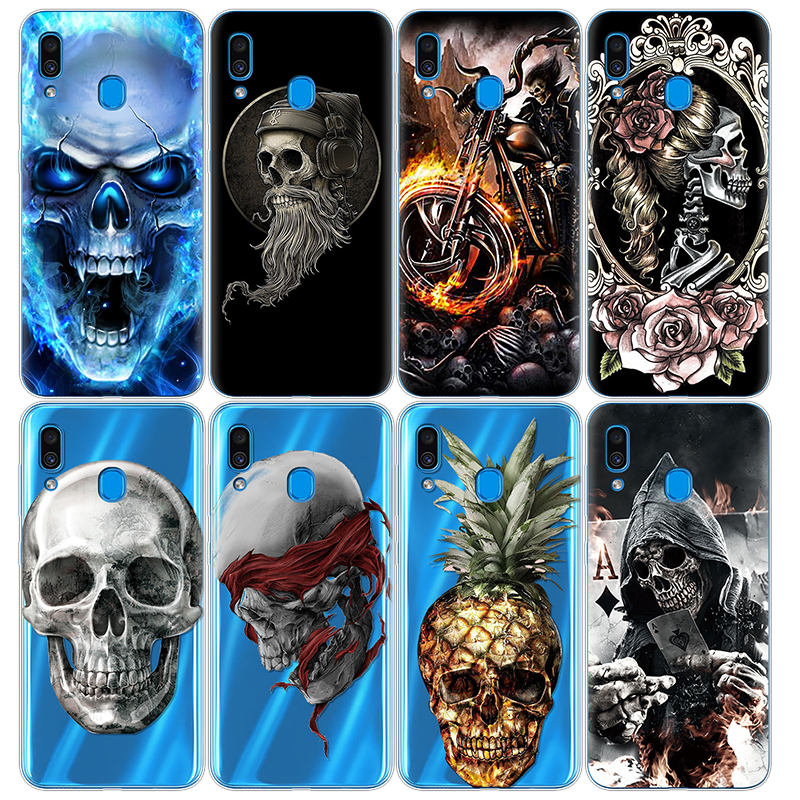 Transparent Phone Cases For Samsung Galaxy A30 Soft Silicone Skull Art Pattern Painted Coque TPU For Samsung A30 6.4 inches Case