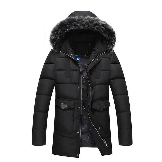 Autumn Winter New Casual Long Man Jacket Winter Warm Quality Thick Mens winter parka with fur hood
