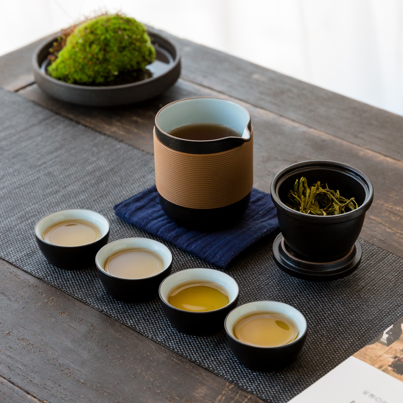 Kung Fu Tea Set For Travel Portable Handmade Pot Cup Teaware Gift Outdoor Ceramic Small Mugs With Bag