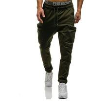 HOT2018 Outdoor spring autumn sport jogging camouflage GYM harem pants men multi pocket hip hop Drawstring track trousers