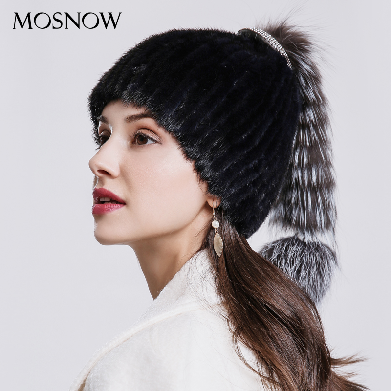 MOSNOW Mink Fur Women Beanies  Luxury Fox Tail And Ball Fashion Winter Brand New High Quality  Women's Hat Hats Caps  #PCM707 стоимость