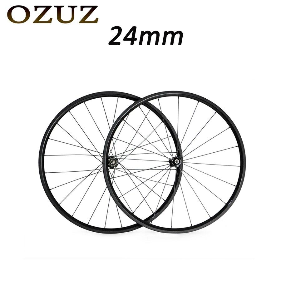 Roues OZUZ 700C 24mm en carbone tubulaire profond roues de vélo de route roues de support Novatec 271/372 moyeux 3 K roues brillantes