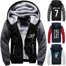 Cristiano Ronaldo Zipper Hooded sweatshirt Men Trick Flannel Coats CR 7 Winter Warm Cotton-padded Jacket Casual Hoodies Sweater(China)