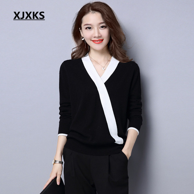 89241a8d8d XJXKS High Quality Black Sweaters Long Sleeve Pull Femme Ladies Casual High  Elasticity Wool Knitting V-neck Women Sweater
