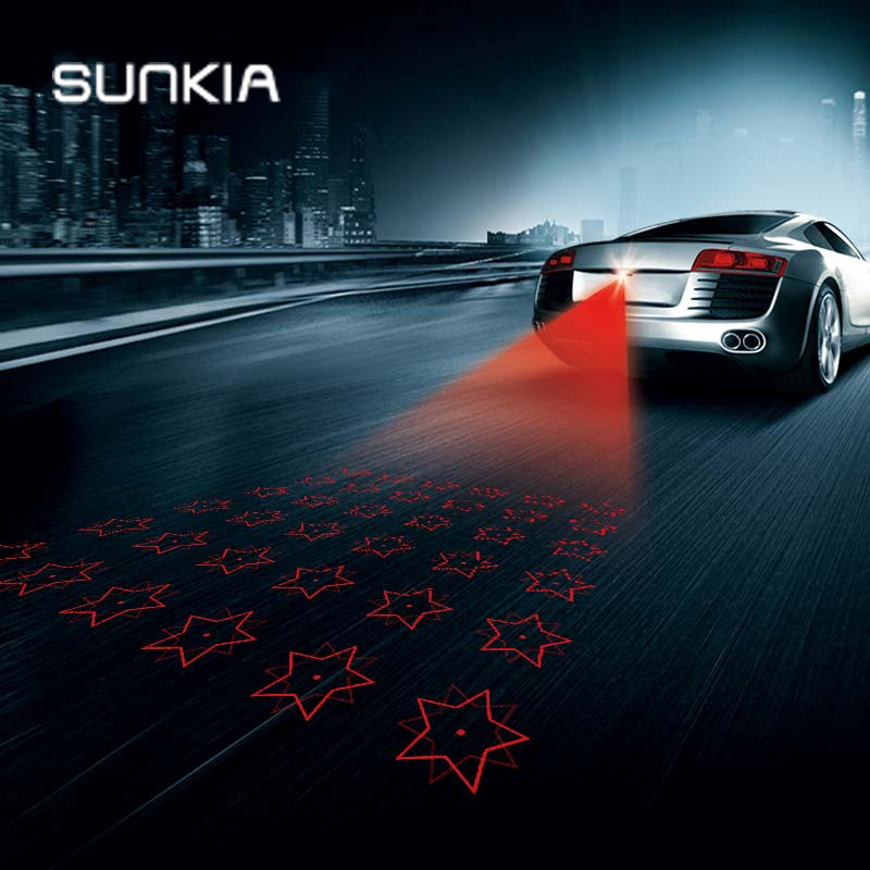 SUNKIA 5-Star Logo Car Laser Fog Lamp Motorcycles Anti-Fog Light Auto Rearing Warming Light For Toyota VW Benz Mazda Mitsubishi