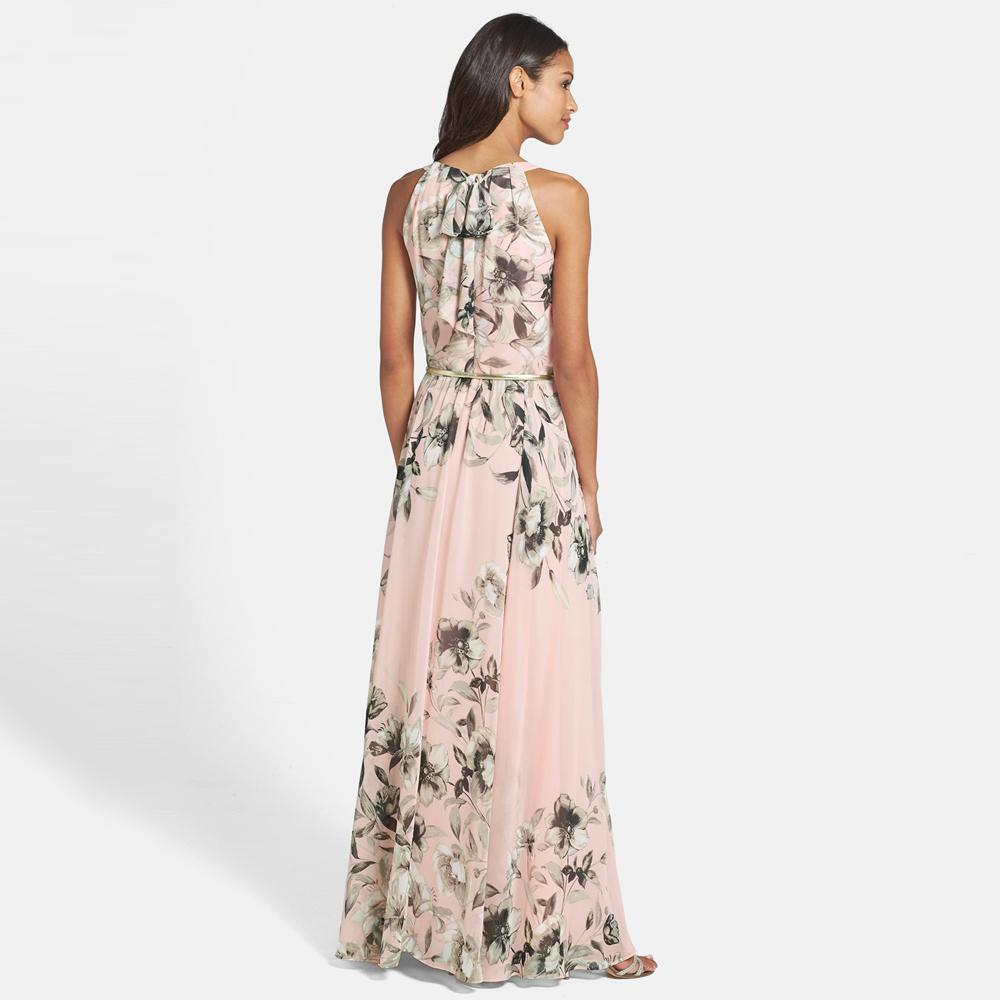 53a5cf30e6 2019 Sexy Women Chiffon Long Dress Floral Print Round Neck ...
