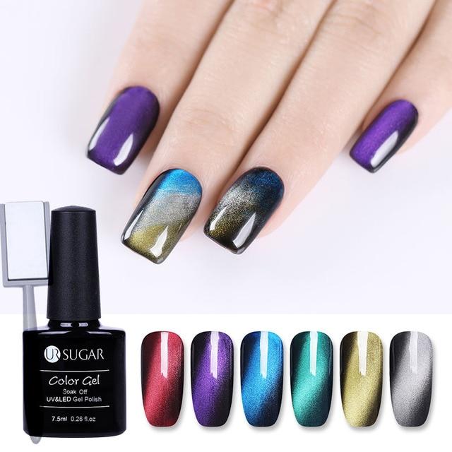 UR SUGAR Magnetic Nail Gel Glue with Stick 7.5ML Long-Lasting UV LED Gel Polish 3D Cat Eye Effect Need Magnet Nail Gel Polish