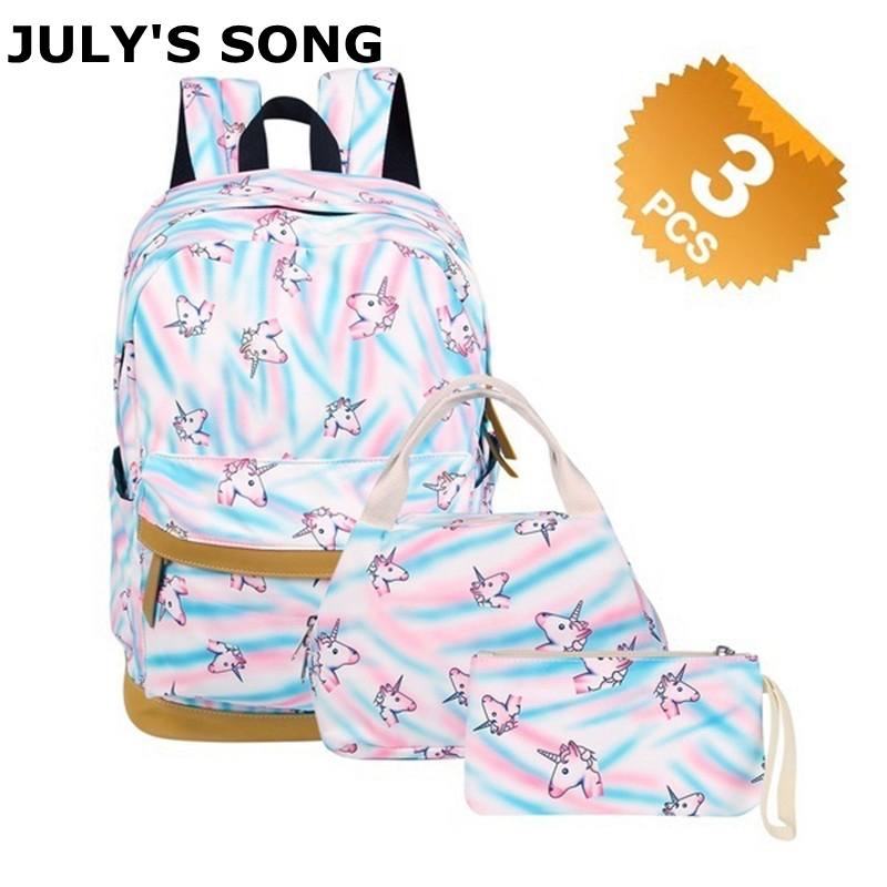 JULY'S SONG 3 Pcs Unicorn Pattern Student Backpack Shoulder Bag Leisure Travel Backpack Printing School Bags For Teenagers 2018 new cute unicorn dab backpack galaxy school bags fashion students backpack travel bag for teenagers stars printing bags