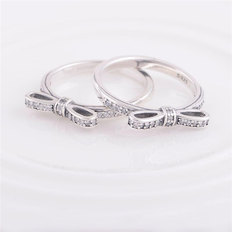 Princess Bow tie Charms Wedding Rings New Original 100 925
