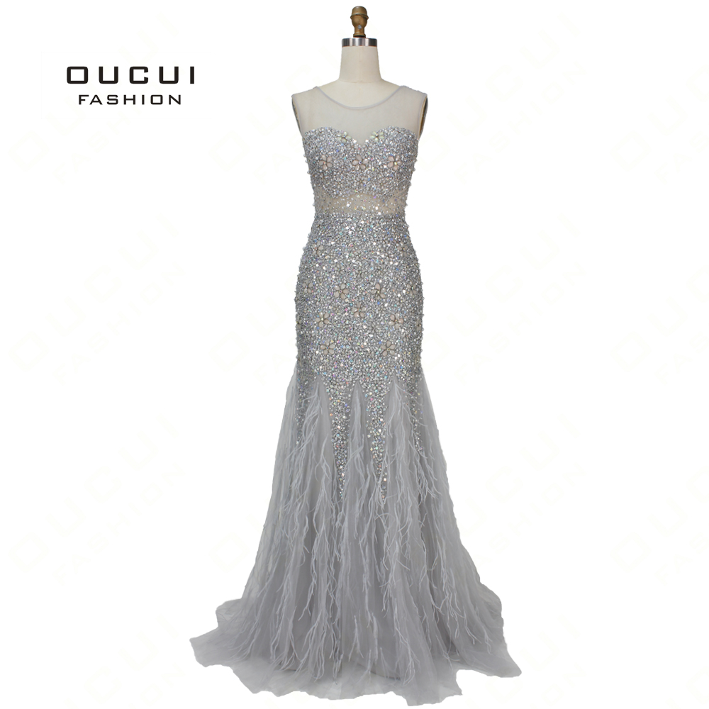 Oucui Newest Sleeveless Long Prom Dresses 2019 Grey Beaded With Feathers Special Flowers Crystal Mermaid Party Dress OL103390