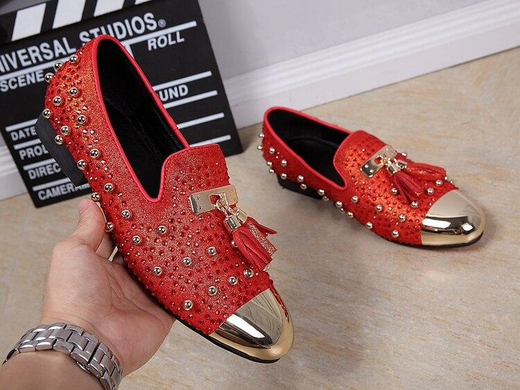 Camurça Masculino Franja Festa Homens Homem Cristal Mocassins Couro De Metal Moda Rebites Sexo Casamento Sapatos Ouro Dedo Para Genuíno Do Pé Dos Vermelho RU6xwfU