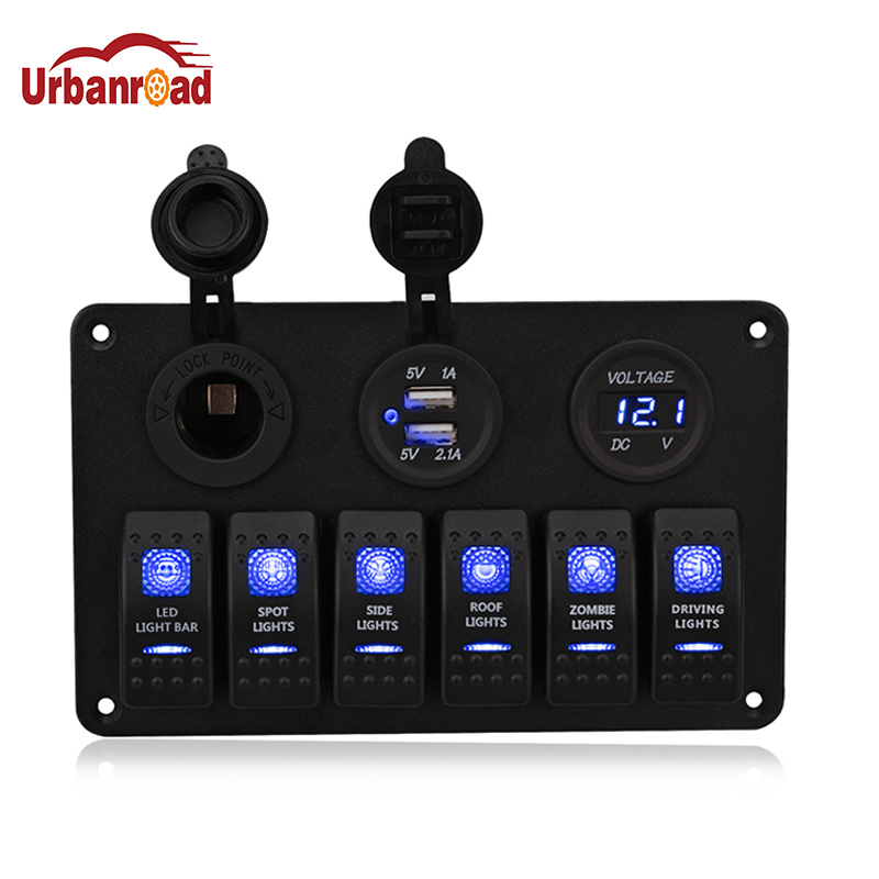 цена на Waterproof 6 Gang Boat Rocker Switch Panel Fuse 3.1A Dual USB Socket Digital Voltage 12V Cigarette Light LED Light for Car Truck