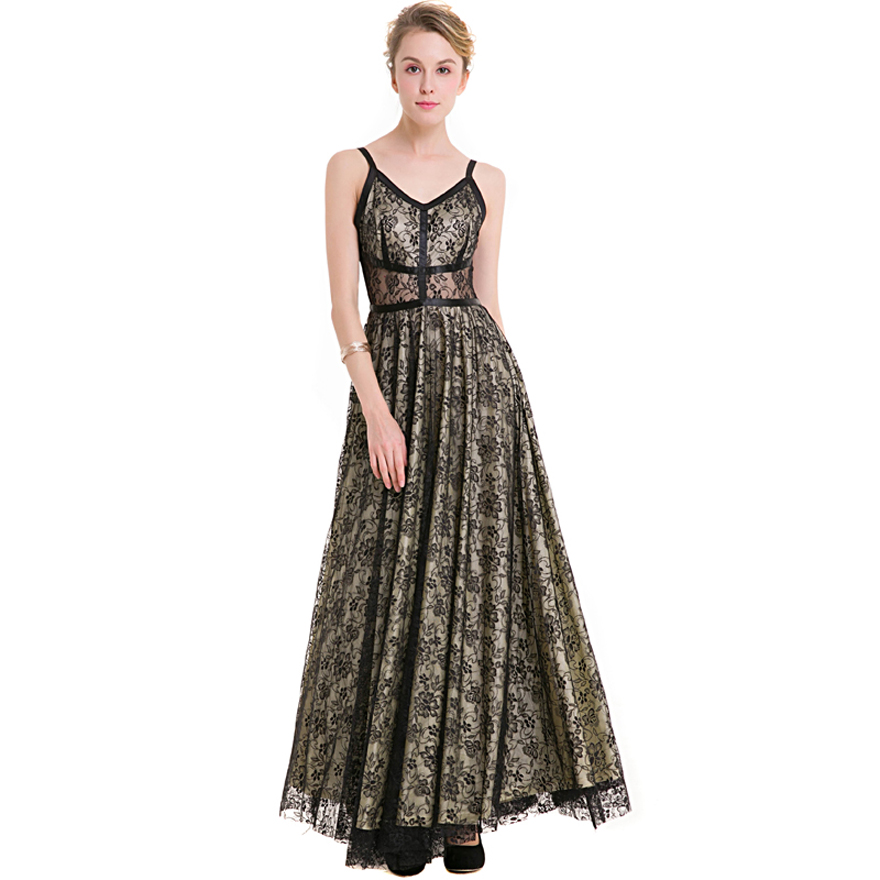 New Women long lace maxi dress V neck hollow sleeveless hit color big swing fit and flare dresses vestidos plus size