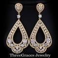 5 Opciones de Color de Oro de La Vendimia Plateó Cubic Zirconia Diamante Simulado Jewerlry Grande Pendientes de Gota Largos Para Las Mujeres ER024