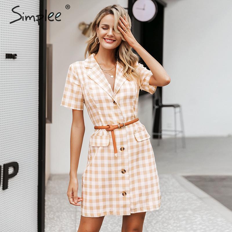 Simplee Elegant Plaid Dress Women Summer Buttons Pockets Yellow Female Dresses Holiday Ladies Short Retro Beach Vestidos 2019