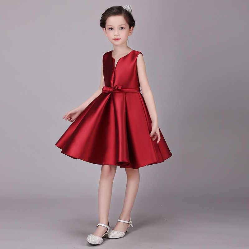 Детское красное платье для девочек; платья принцессы для маленьких девочек; костюмы для причастия; Однотонный костюм для девочек; атласное платье