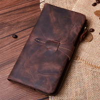 Stylish retro leather men's wallet Casual fashion crazy horseskin long wallet Large capacity clutch bag clutch