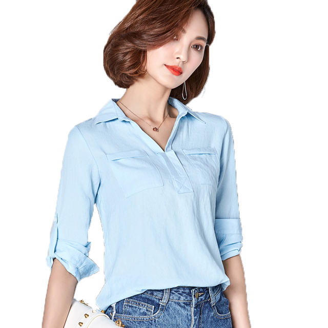f1b4fdda33b 2017 New Fashion Solid Color Two Pockets Three Quarter Sleeve Casual Womens  Blouses Summer Woman Blouse