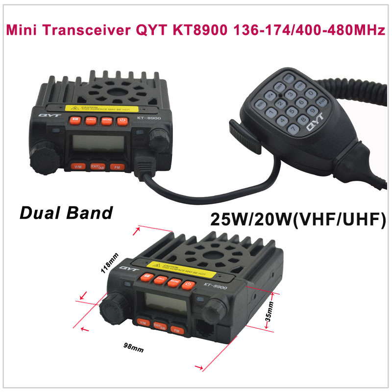Mini Transceiver QYT KT8900 136-174/400-480MHz Two Way Radio Dual Band Mobile Transceiver Color Black