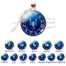 Подарок на день рождения 12 Знак зодиака Серебряная цепочка стеклянный кулон Aries Leo Libra Созвездие скорпиона ювелирные изделия