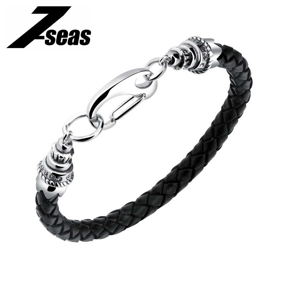 7SEAS Handmade Men Leather Bracelet Religious Characters Design Male Braided Friendship Wrap Bracelet Birthday Day Gift 1171 PH ...