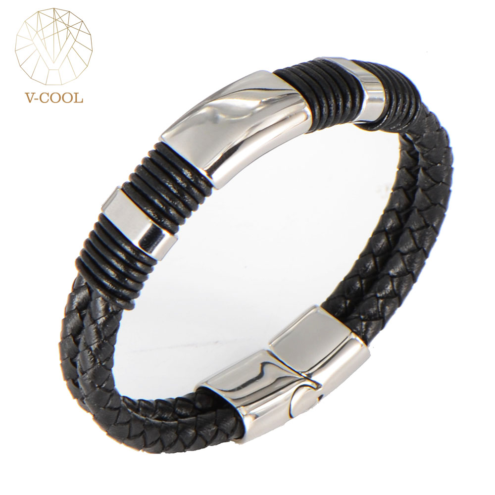 Leather Cuff Bracelets Cheap Braided Rope Stainless Steel Charm Hot Selling  Men Jewelry 2017 Trendy Fashion
