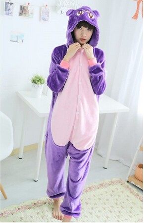 Novelty Anime Sailor Moon Purple Cat Luna Cosplay Costume Diana Onesie Pajamas For Adult Halloween Party Costumes