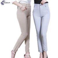 TNLNZHYN 2017 lato nowych Kobiet W Średnim Wieku i starszych odzież spodnie mody wysokiej talii Duże stocznie Dziewięć punktów spodnie farbują TT518